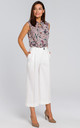 Wide Leg Cropped Trousers in Ecru White by MOE