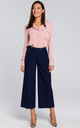 Wide Leg Cropped Trousers in Navy Blue by MOE