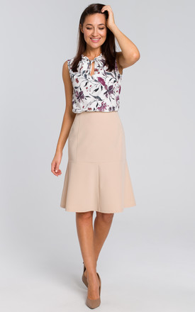 Lined Flared Skirt in Beige by MOE