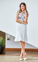 Lined Flared Skirt in White by MOE