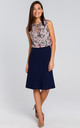 Lined Flared Skirt in Navy Blue by MOE