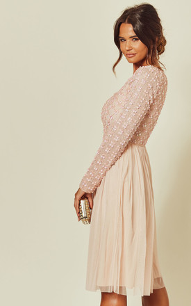Pink Embellished Sequin Long Sleeve Midi Dress by ANGELEYE