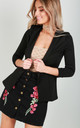 Eli Cropped Sleeve Blazer In Black by Oops Fashion