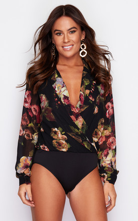 Emma Floral Chiffon Collar Bodysuit Black Print by Girl In Mind Product photo