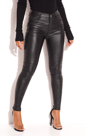 biggest selection factory outlets search for original Faux Leather High Waisted Skinny Jeans In Black by LILY LULU FASHION  Product photo
