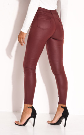 Faux leather high waisted skinny jeans in burgundy red by LILY LULU FASHION