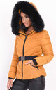 Mustard quilted puffer coat with faux fur hood by LILY LULU FASHION