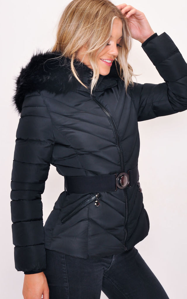 Black quilted puffer coat with faux fur hood by LILY LULU FASHION