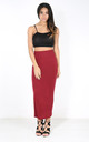 High Waisted Jersey Maxi Skirt In Wine by Oops Fashion