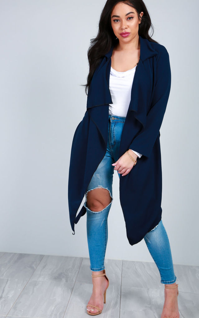 Long Sleeve Waterfall Belted Jacket In Navy by Oops Fashion