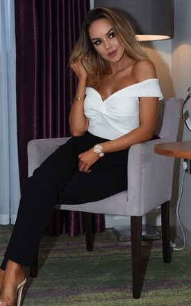 Tabitha Monochrome Off the Shoulder Jumpsuit by Missfiga