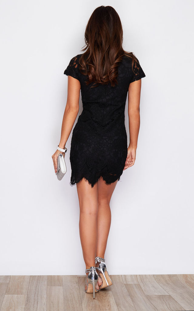 Emilia High Neck Lace Mini Dress Black by Girl In Mind