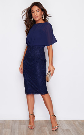 Georgia Batwing Lace Midi Dress Navy by Girl In Mind