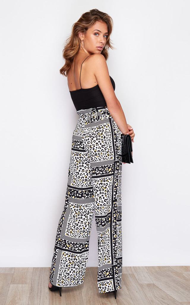 Hope Paper Bag Wide Leg Trousers Lime Leopard Print by Girl In Mind