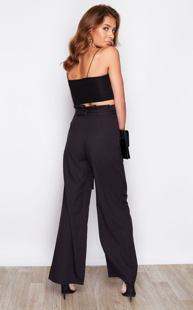Hope Paper Bag Wide Leg Trousers Black by Girl In Mind
