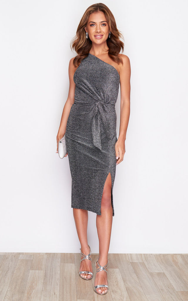 Alexa One Shoulder Knot Front Lurex Dress Silver by Girl In Mind