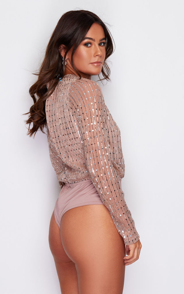 Clara Wrap Sequin Long Sleeve Bodysuit Mocha by Girl In Mind