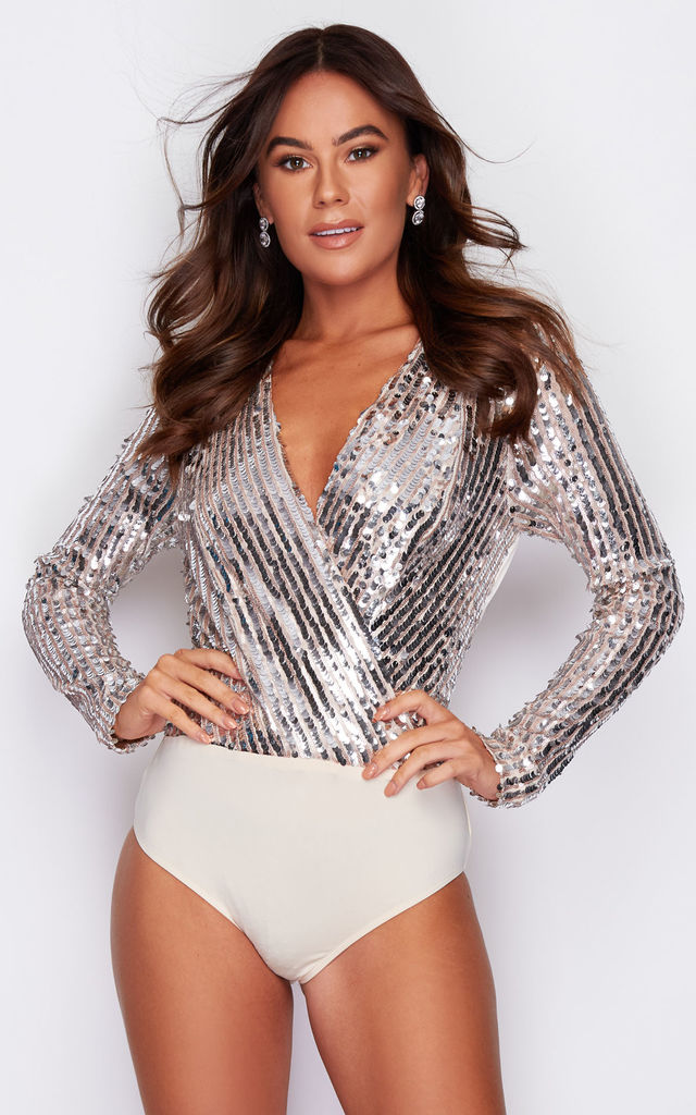Abigail Wrap V Neck Sequin Bodysuit Nude/Silver by Girl In Mind