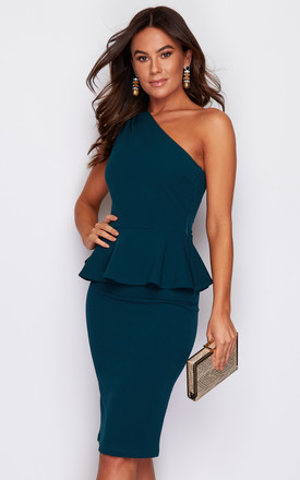 Liliana One Shoulder Peplum Midi Dress Emerald Green by Girl In Mind Product photo