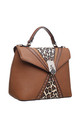 LEOPARD FLAP-OVER TOP HANDLE BAG TAN by BESSIE LONDON