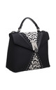 LEOPARD FLAP-OVER TOP HANDLE BAG BLACK by BESSIE LONDON