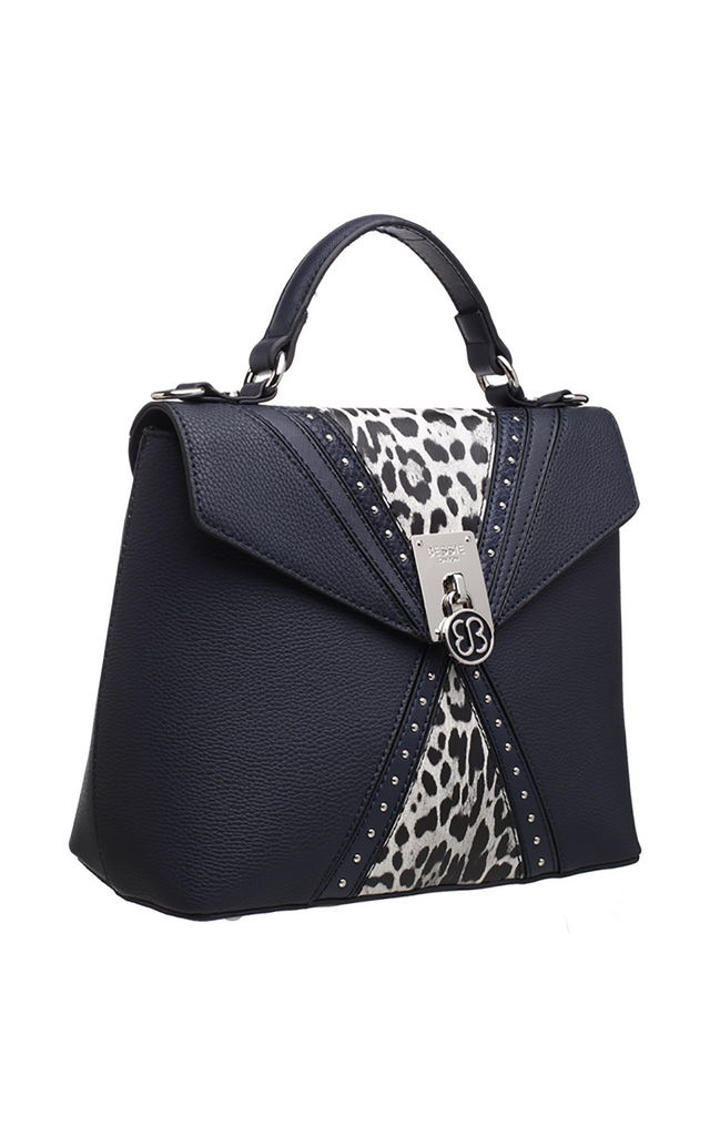 LEOPARD FLAP-OVER TOP HANDLE BAG NAVY by BESSIE LONDON