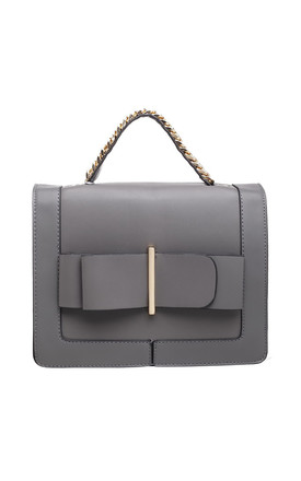 BOWKNOT FLAP-OVER BAG WITH TOP HANDLE IN GREY by BESSIE LONDON