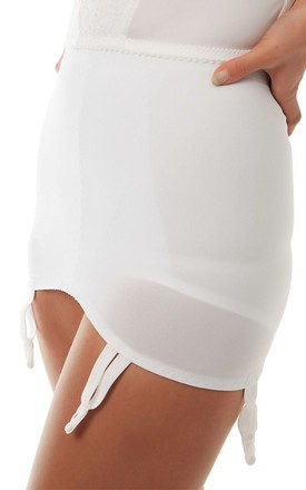 White Suspender Roll On Girdle by BB Lingerie
