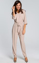 3/4 Sleeve Jumpsuit with Waist Tie in Beige by MOE