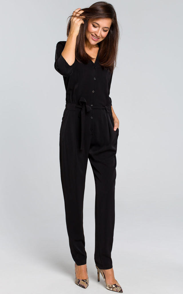 3/4 Sleeve Jumpsuit with Waist Tie in Black by MOE