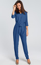 3/4 Sleeve Jumpsuit with Waist Tie in Blue by MOE