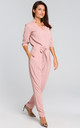 3/4 Sleeve Jumpsuit with Waist Tie in Powder Pink by MOE