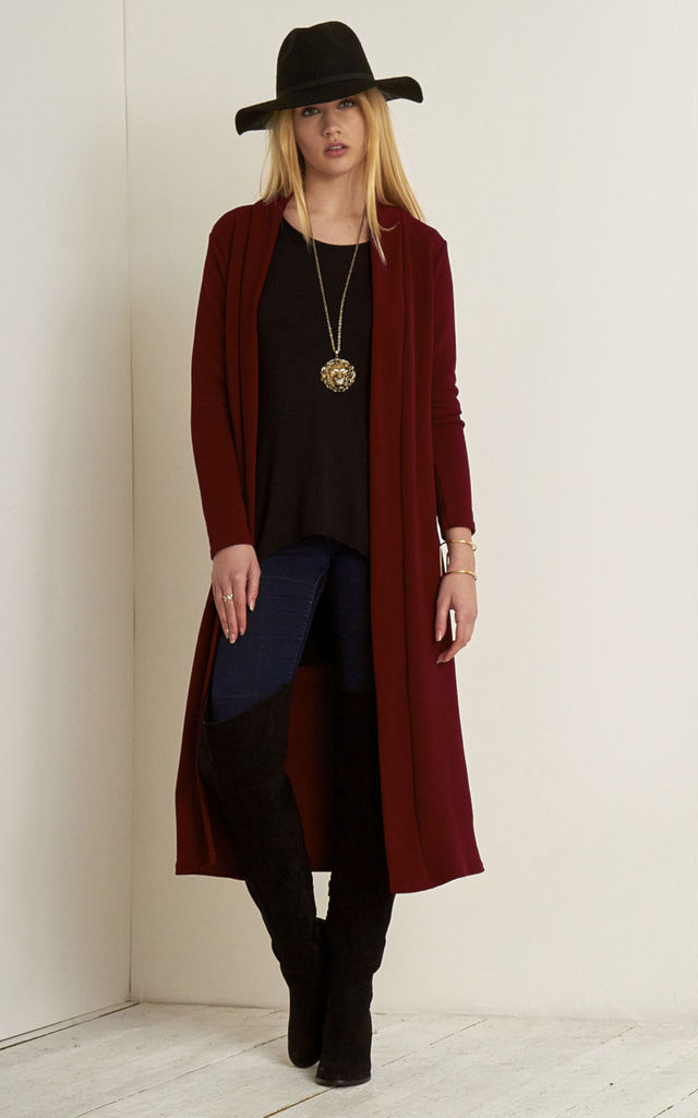 Open Front Longline Jacket In Wine by Oops Fashion