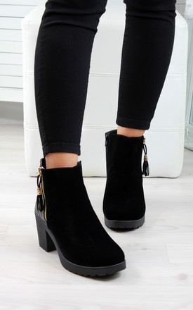 Black Suede Croc Zip Tassel Ankle Boots by Larena Fashion