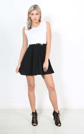 Colour Block Sleeveless Skater Dress In White by Oops Fashion