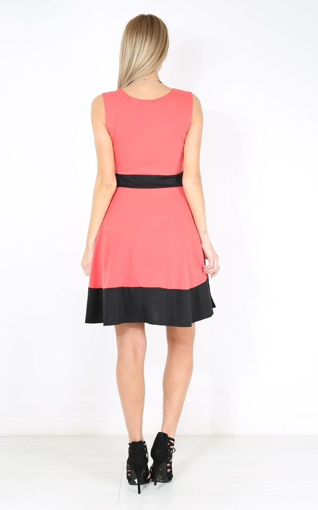 Contrast Panelled Skater Dress In Coral by Oops Fashion