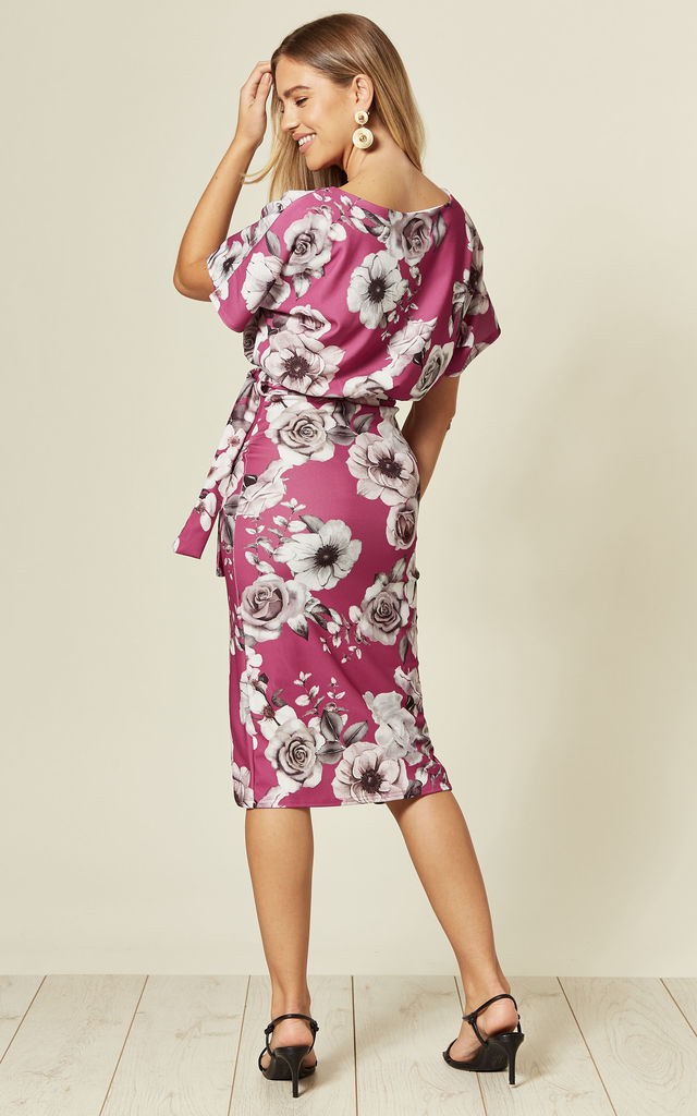 Judith Wrap Front Batwing Dress in Wine Floral Print by Missfiga
