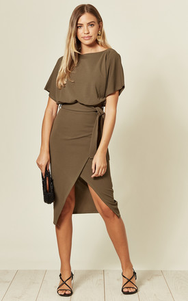 Judith Wrap Front Batwing Dress In Khaki by Missfiga Product photo