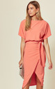 Judith Wrap Front Batwing Dress in Coral by Missfiga