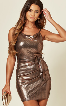 Strap Cowl Neck Copper Gold Dress by Love Product photo