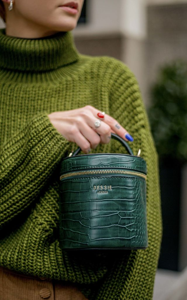 GREEN CROC BUCKET BAG with TOP HANDLE by BESSIE LONDON