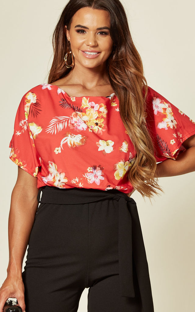 Faryal Red Printed Contrast Batwing Playsuit by Missfiga