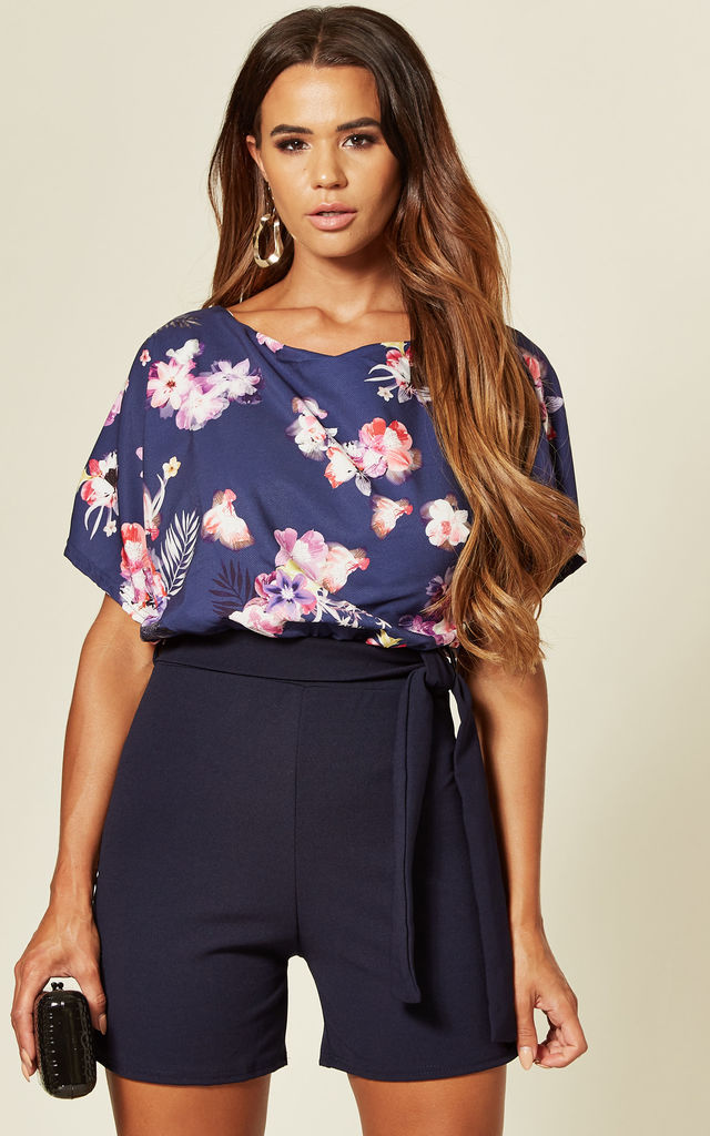 Faryal Contrast Batwing Playsuit in Blue Floral Print by Missfiga