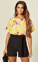 Faryal Contrast Batwing Playsuit in Yellow Floral Print by Missfiga