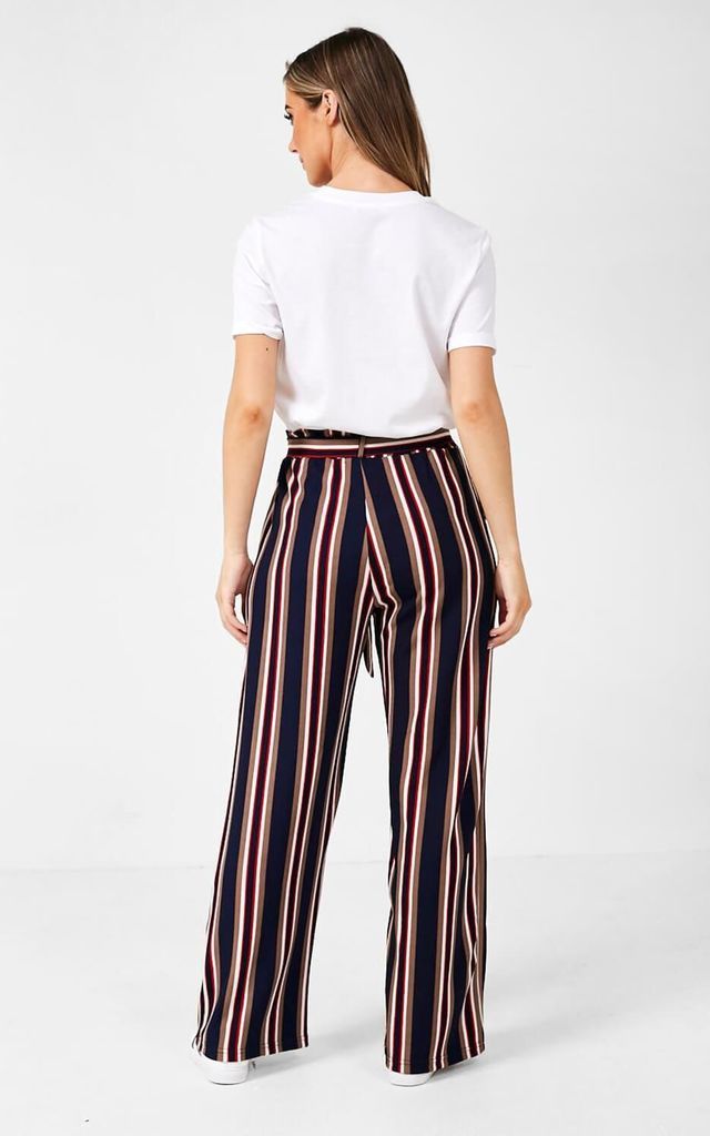 Striped High Waisted Trousers in Navy by Marc Angelo