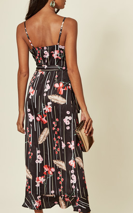 Naomi Frill Wrap Midi dress in Black/Red Daisy Print by D.Anna