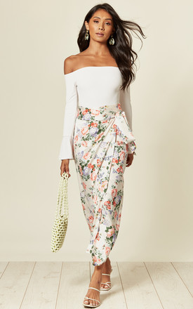Maxi Wrap Skirt With Tie In Cream Floral Print by D.Anna Product photo