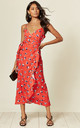 Cami Frill Wrap midi dress in red & white heart print by D.Anna