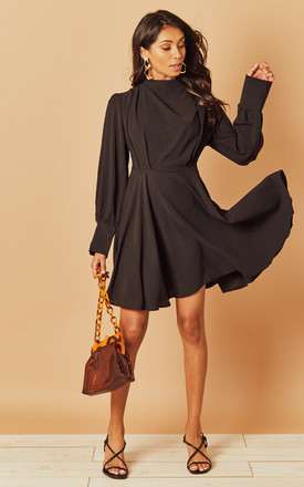Long Sleeve High Neck Skater Dress In Black by Foreva Young Product photo
