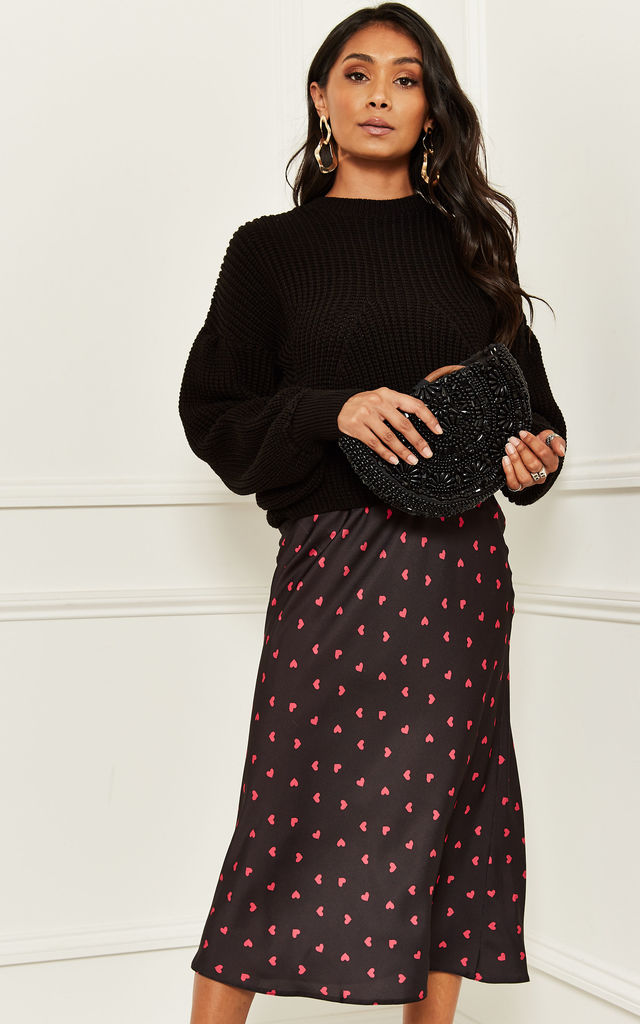 Katy Satin Bias Midi Skirt in Black and Pink Heart Print by Nobody's Child
